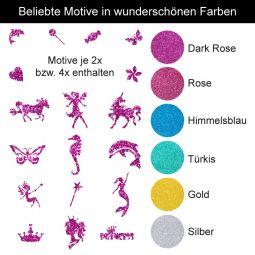Glitzer Tattoo Set Mädchen Kindergeburtstag