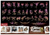 165 Gold Glitzer Tattoo Schablonen Set