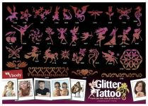 165 Pink Glitzertattoo Schablonen Set