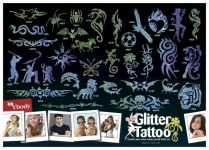 165 Blue Glitzer Tattoo Schablonen Set
