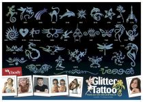 165 Türkis Glitzertattoos Schablonen Set