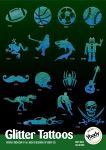 80er Abenteuerhelden Schablonen Glitzer Tattoo Set