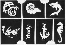 A5 Glitzer Tattoo Schablonen Set maritim