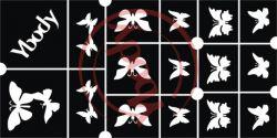 15er Glitzertattoo Schablonen Schmetterlinge
