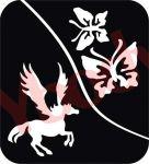 Pegasus und Schmetterling Schablone